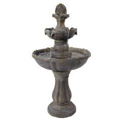 Sunnydaze 2 Tier Pineapple Water Fountain Solar on Demand Fountain, 33 Inch Tall
