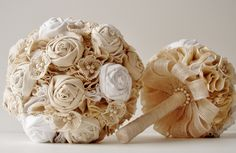 Fabric Bridal Bouquet, Cotton Flower Bouquet, Rosette,  Vintage Wedding,  Lace and Pearls. $180.00, via Etsy.