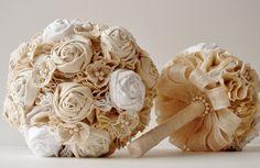 Fabric Bridal Bouquet, Cotton Flower Bouquet, Rosette,  Vintage Wedding,  Lace and Pearls. $180.00, via Etsy.