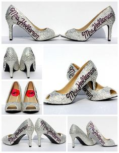 Silver Peep Toe Mrs Pumps Swarovski Crystal by WickedAddiction b8b5902a3514