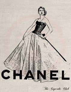 Clip Art Designs Transfer Digital File Vintage Download DIY Scrapbook Shabby Chic Pillow French Chanel Dress Paris No. 0337