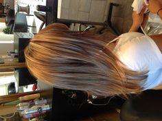Auburn and blonde highlights