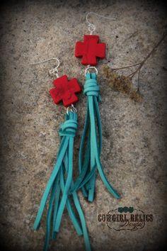 Canyon Gypsy Leather Tassel Western Earrings, $16.00, www.cowgirlrelics.com #leather #leatherjewelry #crossearring #turquoise #westernjewelry #tassel #fringe #southwest #westernjewelry #cowgirl #gypsy #boho #bohemian