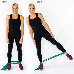 Standing Leg Extension: Aim to have it resting above your ankle. Stand hip-width apart. Shift your weight to your left foot and pick up your right foot, keeping your right leg straight. Raise your right leg up and to the side until you really feel the band pulling against your leg. Slowly lower your leg back to your left foot, but do NOT set it down. That is one rep. Do as many as you can for 30 seconds, then switch legs