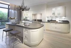 Painted wood kitchen designs beautifully enhance the sculptured fronts of a Shaker kitchen door. See here for painted wood kitchen ideas. White Shaker Kitchen, Shaker Style Kitchens, Home Kitchens, Fitted Kitchens, Elegant Kitchens, Kitchen Units, New Kitchen, Kitchen Interior, Kitchen Decor