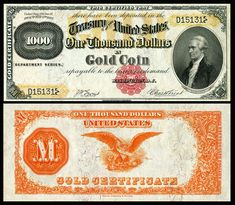 Large denominations of United States currency - Wikipedia 1000 Dollar Bill, Thousand Dollar Bill, Money Notes, Dollar Money, Silver Certificate, Old Money, Cash Money, Coin Values, Coin Collecting