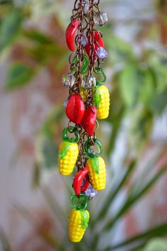 Lampwork necklace Corn leaves glass jewelry Glass bead Vegetable necklace Harvest Nature Food Fall wedding gift Christmas gift Holidays gift