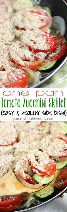 No better way to use up that summer zucchini than in a healthy and easy side dish! This Tomato Zucchini Skillet is made in one pan and kicks the pants off those frozen veggie side dishes!