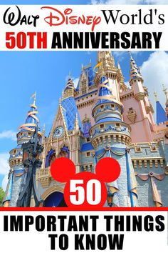 From parking to rope drop to extra time in the parks and merchandise, here are 50 important things to know about Disney World's 50th Anniversary on October 1st, 2021! #WDW #Disneyworld #Anniversary #familyTravel #Orlando #themeparks Disney On A Budget, Disney World Vacation Planning, Disney Vacation Club, Disney Planning, Trip Planning, Disney World Hotels, Walt Disney World Vacations, Disney World Resorts, All Disney Parks