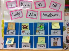 This is a flow chart for 'I Know an Old Lady Who Swallowed a Shell'. I have 'I Know an Old Lady Who Swallowed Some Snow' and use it to target /sn-/. This idea is so easy, fabulous, and VERSATILE! Love it!