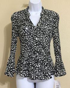 Allison Taylor Women's Black & White Crinkle Blouse Size M NWT #AllisonTaylor #Blouse #Casual