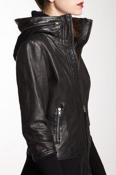 Look #1: Leather Jacket w/ Zip Collar.  #7LooksFallChallenge