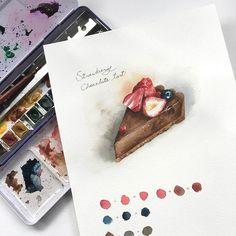 水彩 : #草莓巧克力塔,喜歡這次的色調,有點成熟大人風味…