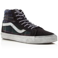 c701379a634ce7 Vans Sk8-Hi Reissue CA Overwashed Plaid Sneakers ( 80) ❤ liked on Polyvore