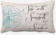 Cotton Beach Pillow She Sells Seashells Cotton and by JolieMarche, $37.00