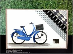 card bike bicycle #bikecard -  Copic Colored Bicycle Die Cut from Mariannes Creatables Design !!