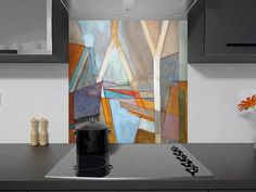 Digitally Printed Glass Splashback for Kitchen - Abstract - An Abstract Multicolour Hand Painting, [Portrait, Ref. A119788072]