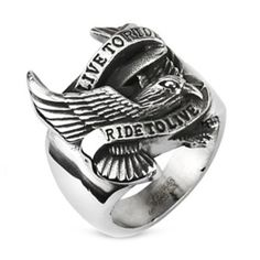 "10MM Polished Stainless Steel Biker Ring With Eagle and ""LIVE TO RIDE,RIDE TO LIVE"" Engraved in front http://bikeraa.com/10mm-polished-stainless-steel-biker-ring-with-eagle-and-live-to-rideride-to-live-engraved-in-front-2/"