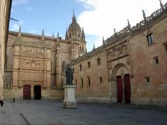 Salamanca (Castilla y León) - Salamanca's University was one of the greatest centres of learning in medieval times and Miguel de Cervantes and Hernán Cortés are just two of many famous Spaniards who studied there. Christopher Columbus lectured there. It is a pretty splendid building too, especially the façade facing the Plaza Patio de Escuelas Menores. photo: Robert Bovington http://bobbovington.blogspot.com.es/