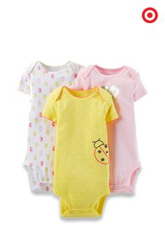 As sweet as they are soft, Just One You made by Carter's 3-pack bodysuits are essential for your baby. They feature cute designs and prints, and can be easily coordinated with pants and shorts, or used as a layering piece to keep Baby warm.