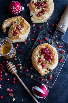 goat cheese stuffed phyllo swirls with pomegranate honey pistachios