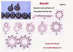 Model 23 Bracelet (and earrings) - FREE Pattern by Ida Pázmán on MalaBead. To view a larger pattern - go to the web site and click the pattern twice!