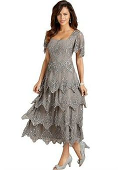 Possible MoB dress?  Beaded Tiered Empire Waist Gown   Plus Size Wedding   Roamans