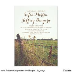 "rural fence country rustic wedding invitation 5"" x 7"" invitation card"