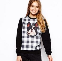2015 spring plaid sweatshirt for girls animal dog pullover sweatshirt