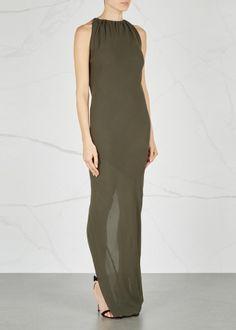 Army green draped silk maxi dress - New In