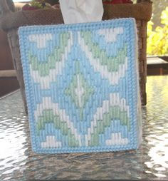 Blue Bargello Tissue Box Cover by TissueMart on Etsy Plastic Canvas Tissue Boxes, Plastic Canvas Crafts, Plastic Canvas Patterns, Needlepoint Patterns, Canvas Designs, Bargello, Tissue Box Covers, Etsy Shop, Crochet