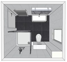 "Image Search Result For ""kleine badkamer tekening"" Small Bathroom Layout, Small Bathroom With Shower, Bathroom Spa, Bathroom Renos, Basement Bathroom, Bad Inspiration, Bathroom Inspiration, Bathroom Drawing, Bathroom Plans"