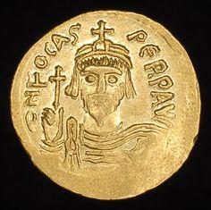 Ancient Roman Byzantine Gold Solidus coin Focas Phocas