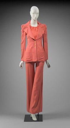 Woman's ensemble (jacket, pants, halter top), Biba, 1970. vintage fashion style coral pink outfit suit designer iconic 70s museum