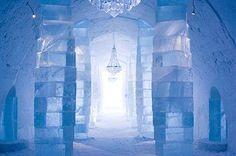 Icehotel, made of snow and ice in Jukkasjärvi, Sweden