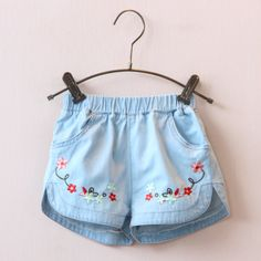 buy 2016 Girls Shorts Kids Jeans Flower Embroidery Denim Shorts Summer Cotton Children Clothes Baby Casual Pocket Short Jeans Pants