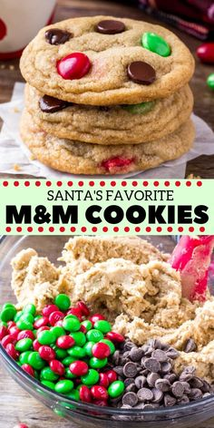 These Christmas M&M cookies are perfect for the holidays. They're soft chewy buttery and filled with holiday candies and chocolate chips. No chill super easy and Santa's loves them too! Holiday Candy, Holiday Baking, Christmas Desserts, Holiday Treats, Holiday Recipes, Christmas M&m Cookies Recipe, Christmas Chocolate Chip Cookies, Christmas Chocolates, Easy Holiday Cookies