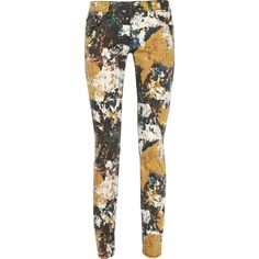 Tory Burch Printed Straight-Leg Mid-Rise Jeans