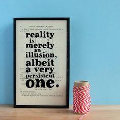 Einstein Quote art Reality is merely an illusion Geek art on vintage book page. via Etsy. Art Prints Quotes, Art Quotes, Inspirational Quotes, Quote Art, Illusion Quotes, Math Textbook, Old Book Pages, Einstein Quotes, Geek Art