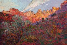 Zion Patriarchs - Modern Impressionism | Contemporary Landscape Oil Paintings for Sale by Erin Hanson