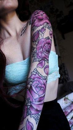 Purple-Roses-Tattoo-On-Girl-Left-Full-Sleeve.jpg (337×600)