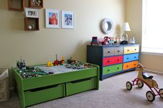 painted train table, also we could add drawers like this under ours for storage