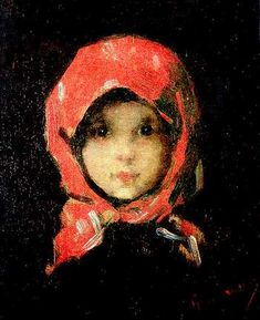 Little Girl with Red Headscarf ~ Nicolae Grigorescu. Striking. Just beautiful.