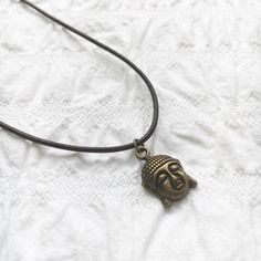Antique gold Buddha leather necklace brown by JunkboxCouture