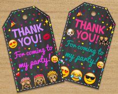 Emoji Thank You Tags Emoji Party Favors Emoji Printable