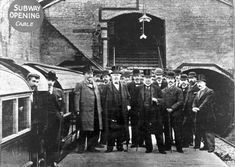 Glasgow's original Subway opens for business, 1896. Here, what is thought to be the Directors and some staff of the Glasgow and District Subway pose for an opening day photo. It had taken over 5 ½ years to finish two tunnels and 15 stations. Thousands of Glaswegians flocked for a chance to ride for only 1d (1 old pence). Only London and Budapest had built subway systems, so it must have been entirely new experience to almost all those riding it on opening day.