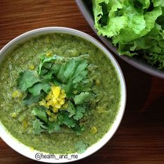 yummy raw soup for dinner! looks super green but trust me its amazing! 2 x cucumber, 1x capsicum, 1 x tomato, 2 x leaves kale, 1 x tbslemon juice, 1/2 cup water, herbs 1/2 cup (basil, oregano) 1 x tbs cumin powder, 1 tbs himalayan sea salt, 1 x avocado! blend all ingredients in your blender (vitamix is best) then add avocado afterward and re blend! serve with a garnish of coriander + pepper! if you want to warm it, add a touch of boiling water after blending