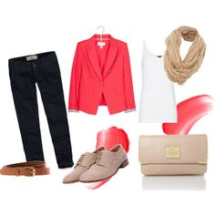 casual work outfit in pink black and beige