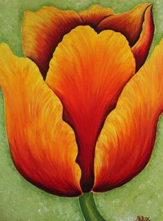 de flores Este artículo no está disponible Original painting by Helene Ocko x 24 -Acrylic on canvas -Yellow, orange and green -Ready to hang This box can be customized and made to order. It can be done in any size and color. Tulip Painting, Acrylic Painting Flowers, Acrylic Painting For Beginners, Abstract Flowers, Flower Artwork, Acrylic Painting Canvas, Canvas Art, Flower Oil, Colorful Drawings