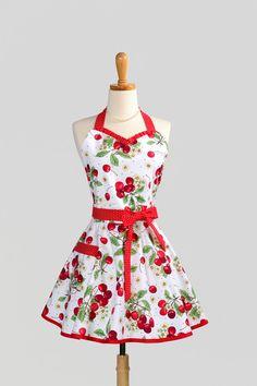 Womens Sweetheart Hostess Apron - Retro Ruffled Red Cherry Jubilee with Polka Dot. $38.00, via Etsy.